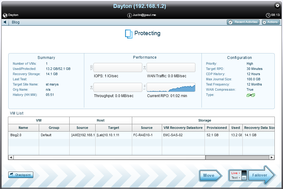 RPO increases during initial sync of other VM's but still is maintained within the Target RPO setting