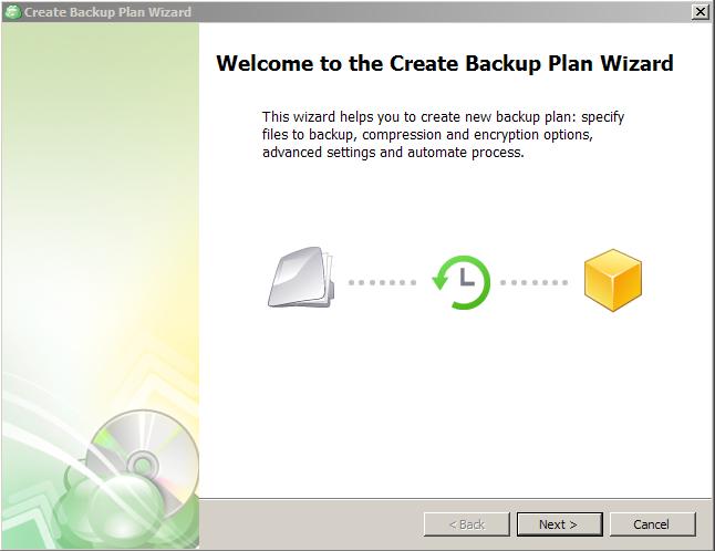 Backup Plan Wizard Welcome Screen