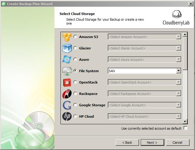 Select Storage for Backup Plan