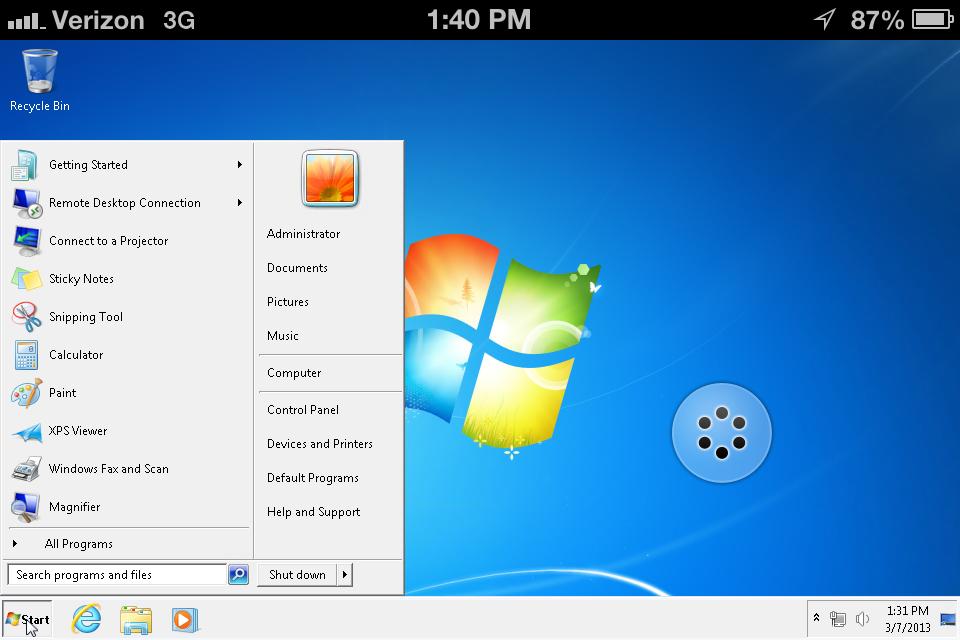 Windows 7 Home screen on iPhone