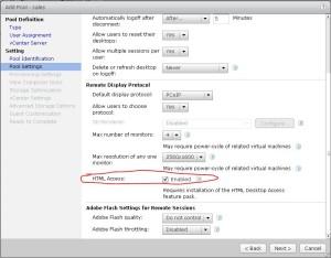 Desktop pool settings - HTML Access Checkbox