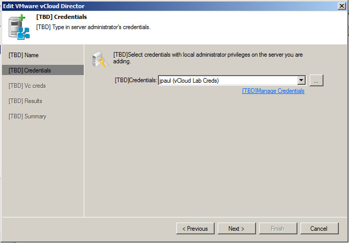 Fill in credential for Veeam to access vCloud Director