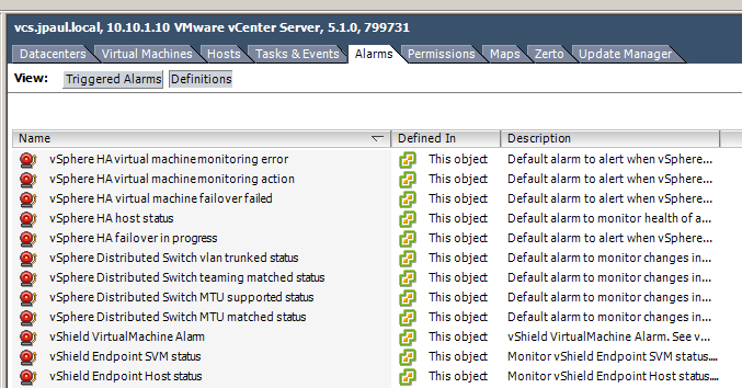 Alarm definitions, under the vCenter Server;s Alarms tab