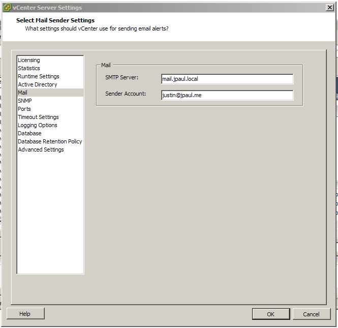 Mail server settings for vCenter alerts