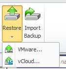 """Click the restore button and select """"vCloud"""" to start the restore wizard"""