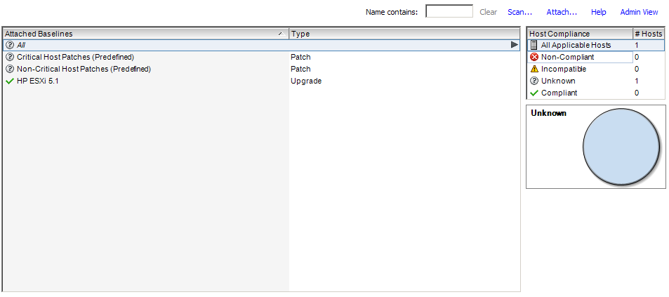 The update manager tab showing the attach and the scan links
