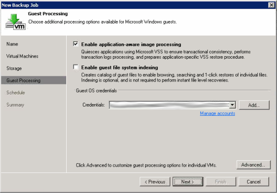 Setup VSS Processing if needed (if it has anything to do with Active Directory, SQL, or Exchange... do this for sure)