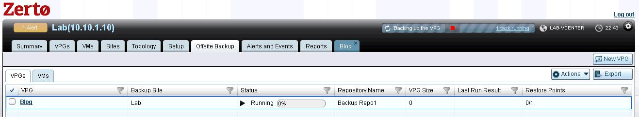 offsite backup tab