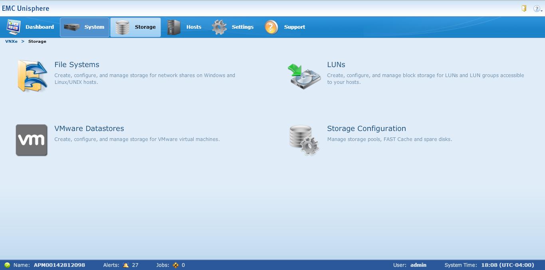 VNXe3200 Storage Tab