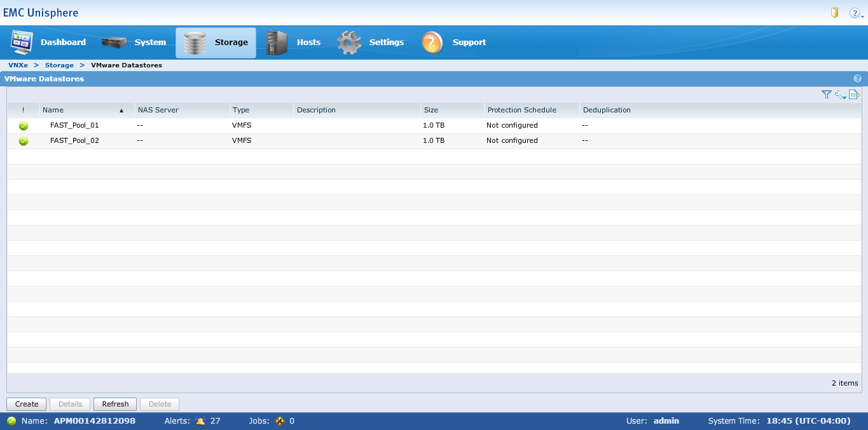 VMware Datastores section