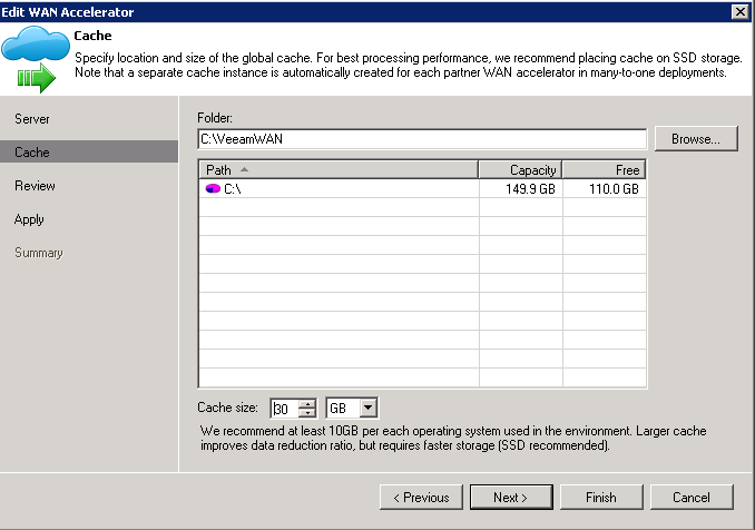 Step2: Select where to put its cache files