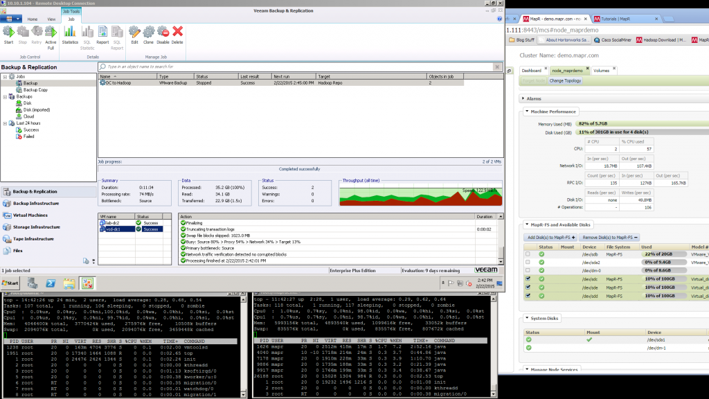 Backup Completed to Hadoop and MAPR-FS