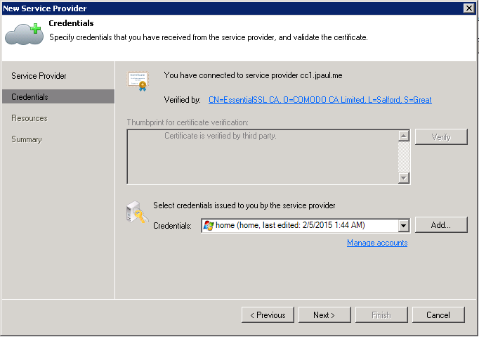 Step 2: Verify that your service providers SSL certificate is what it should be, and then setup your credentials