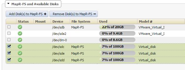 I added 3 100GB hard drives to my MAPR-FS