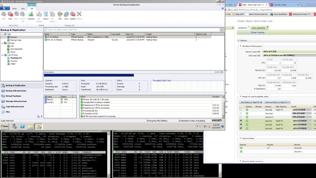 Screenshot of the Veeam backup server pushing data to the MAPR VM as well as process monitors on both the Linux NFS Client VM and the MAPR Sandbox VM. On the right you can also see the web interface of the MAPR sandbox and how many reads and writes its doing
