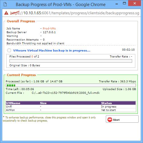 Live Backup Progress Window