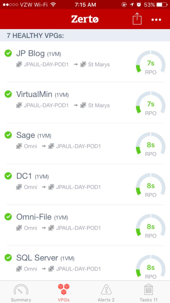 VPG Status Screen