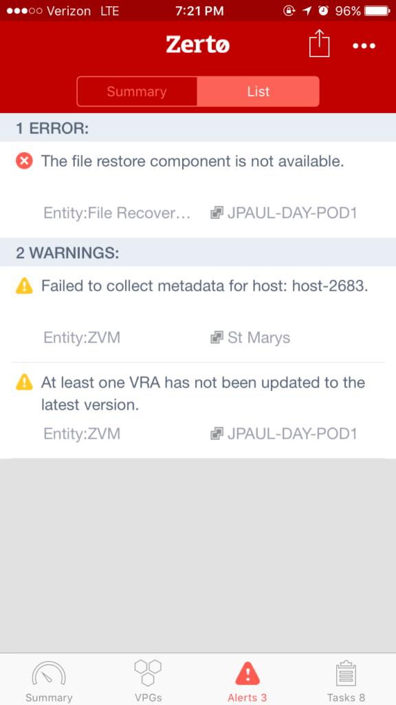 Mobile Alerts List